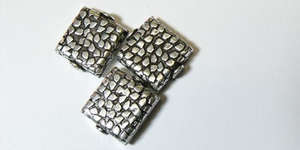 15mm Silver Plated Flat Square with Mosaic Design