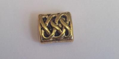 9.5x8.5mm Celtic Patterned Rectangular Bead - Gold Plated