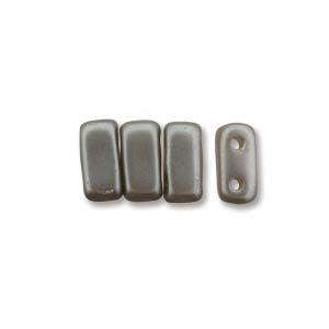 3x6mm Czech Mates Two Hole Brick in Pastel Silver