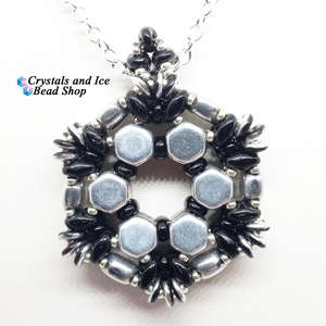 HoneyComb Spokes Pendant Kit - Silver and Jet
