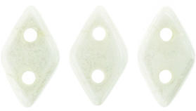CzechMates Two Hole Diamond Beads - Opaque White Lustre