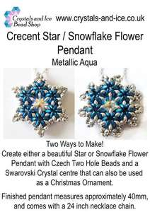Crescent Star / Snowflake Flower Pendant Kit - Metallic Aqua