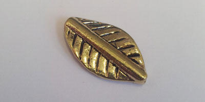 11x20mm Leaf Bead with Length Drilled Hole  - Gold Plated