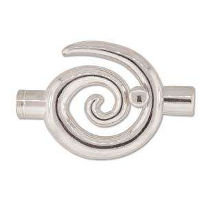Large (6.2mm) Glue In Swirl Toggle Clasp - Silver Plate