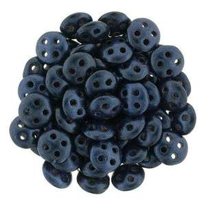 6mm CzechMates QuadraLentil in Metallic Suede Dark Blue