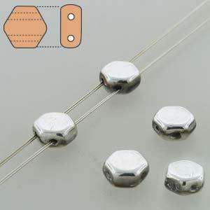 6mm Two Hole HoneyComb Beads in Crystal Labrador Full Coat