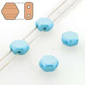 6mm Two Hole HoneyComb Beads in Pastel Aqua