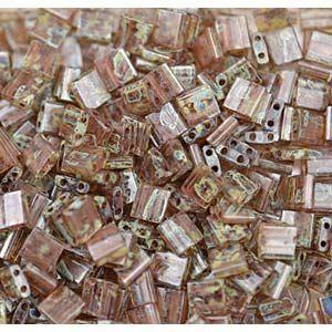 5mm Miyuki Tila Beads in Smoky Cream Transparent Picasso