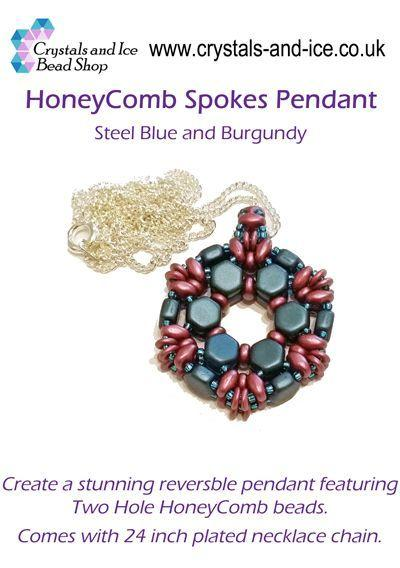 HoneyComb Spokes Pendant Kit - Steel Blue and Burgundy