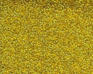 Miyuki Seed Beads 15/0 in Mustard Yellow Trans. Silver Lined