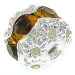 8.5x7.5mm Acrylic Rhinestone Rondelle - Silver and Amber