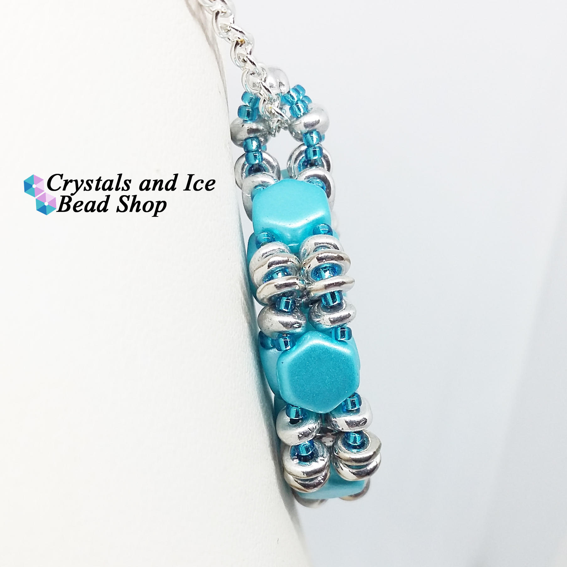 HoneyComb Spokes Pendant Kit - Aqua and Silver