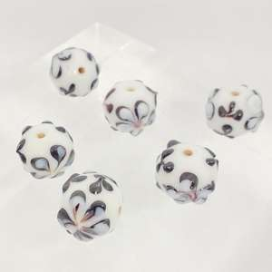 14mm White Round with Raised Flower Pattern in Black and Cornflower Blue