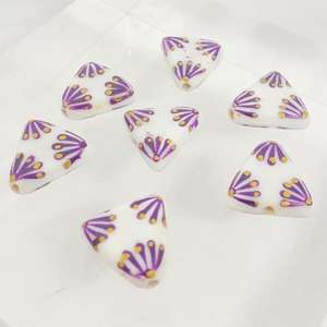 17mm White Triangle with Hand Painted Indian Purple and Gold Fan Design