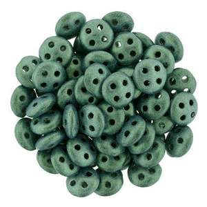 6mm CzechMates QuadraLentil in Metallic Suede Light Green
