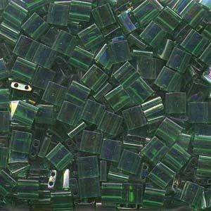 5mm Miyuki Tila Beads in Transparent Green AB