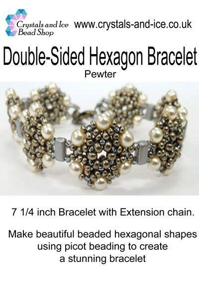 Double Sided Hexagon Bracelet Kit - Pewter