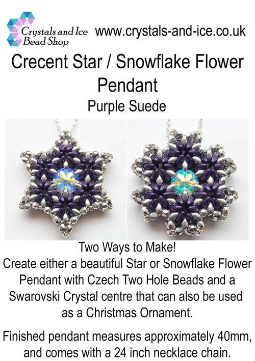 Crescent Star / Snowflake Flower Pendant Kit - Purple Suede