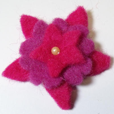 50mm Triple Layer Felt Flower in Fuchsia and Magenta