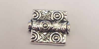 10x12mm Length Drilled Rectangular Bead with Swirl Pattern - Silver Plated