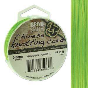 0.8mm Chinese Knotting Cord - Neon Green (15m Spool)