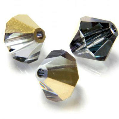 8mm Preciosa Crystal Bicones - Crystal Aurum (Half Coat)