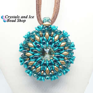 Celeste - Swarovski Rivoli Pendant Kit (Pastel Emerald and Crystal Golden Shadow)