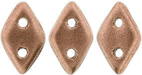 CzechMates Two Hole Diamond Beads - Matte Metallic Copper