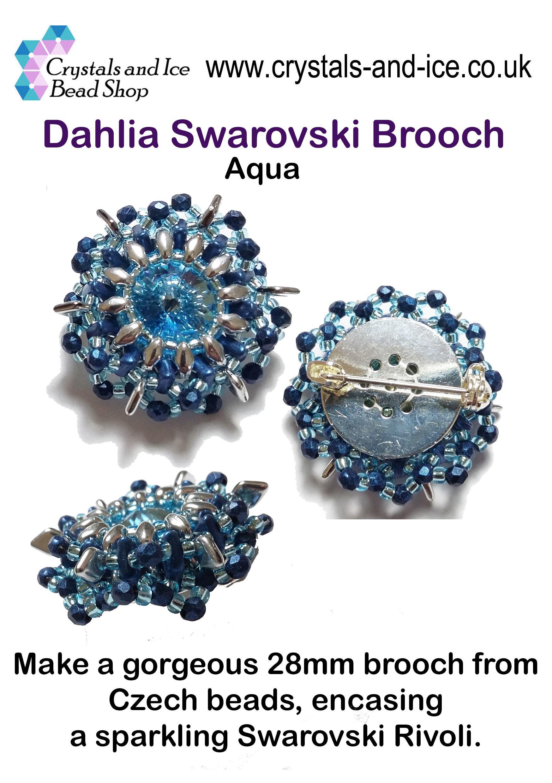 Dahlia Swarovski Brooch Kit - Aqua