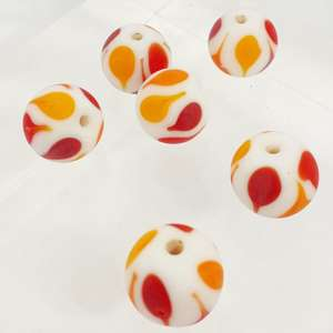 14mm Matte White Round with Matte Orange and Red Teardrops Design
