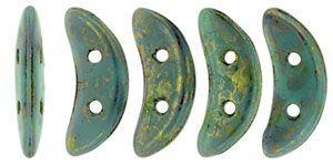 CzechMates Two Hole Crescent in Turquoise Bronze Picasso