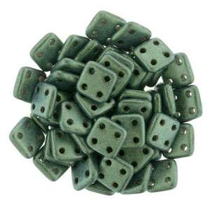 6mm CzechMates QuadraTile in Metallic Suede Light Green