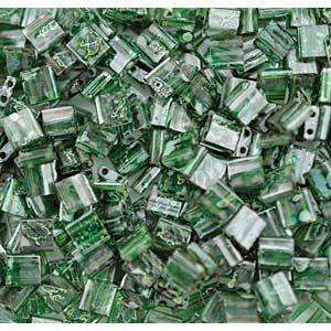 5mm Miyuki Tila Beads in Green Transparent Picasso