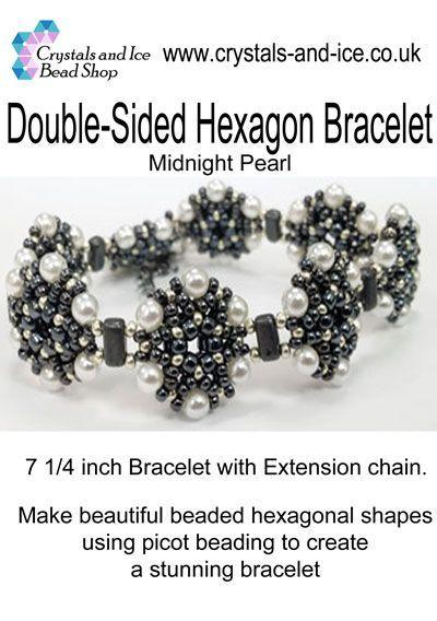 Double Sided Hexagon Bracelet Kit - Midnight Pearl