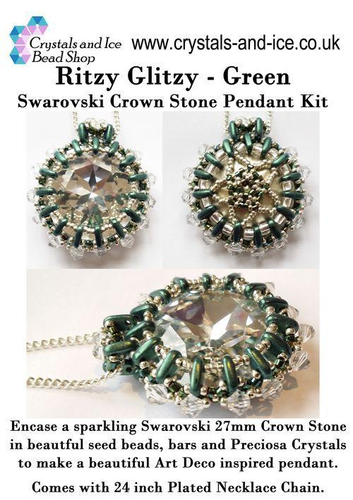 Ritzy Glitzy - Swarovski Crown Stone Pendant Kit (Green)