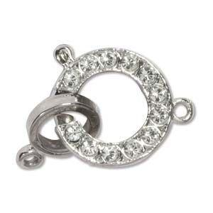 15mm Elegant Elements Bolt Ring Clasp with Crystals - Silver Plate