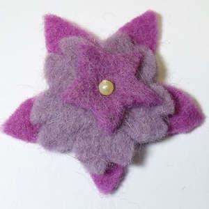 50mm Triple Layer Felt Flower in Purple and Lavender