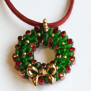 Beading Pattern - Christmas Wreath Pendant / Tree Ornament