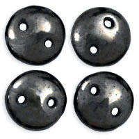 6mm Czech Mates Two Hole Lentil - Hematite