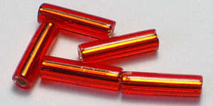 6mm Miyuki Bugle - Orange / Red Trans. Silver Lined