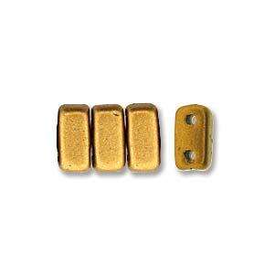 3x6mm Czech Mates Two Hole Brick in Matte Metallic Goldenrod