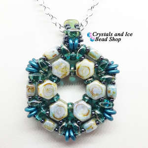 HoneyComb Spokes Pendant Kit - Chalk Lazure Blue and Aqua Celsian
