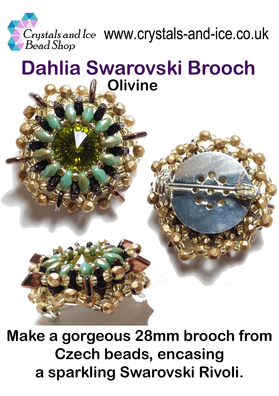 Dahlia Swarovski Brooch Kit - Olivine