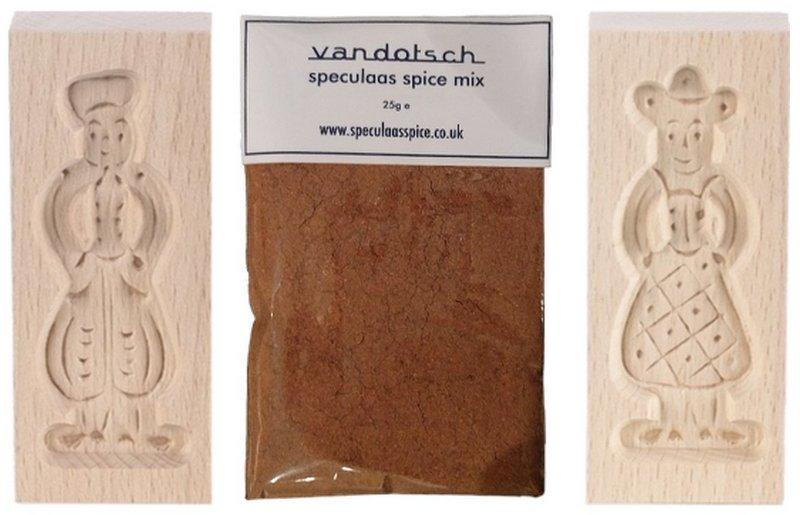 vandotsch speculaas spice mix with man and woman molds on speculaas spice home page