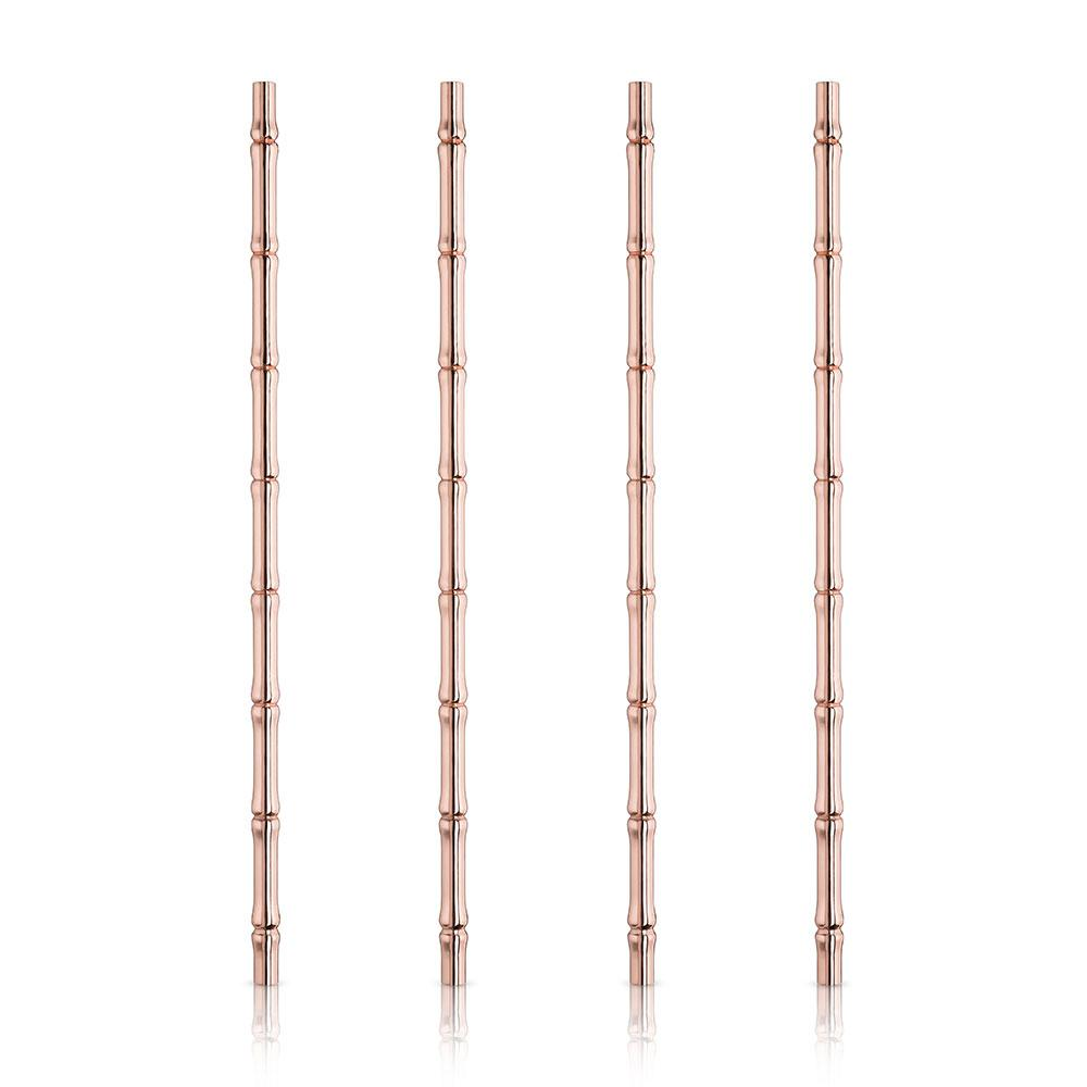 Viski Summit Copper Bamboo Straws - Set of 4 - Only £17.99