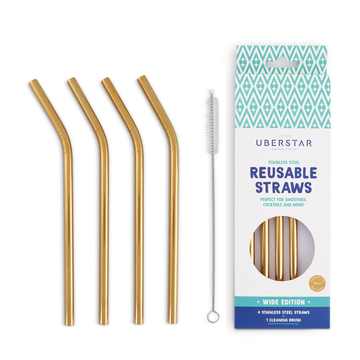 Uberstar Reusable Straws (4 Pack) - Gold