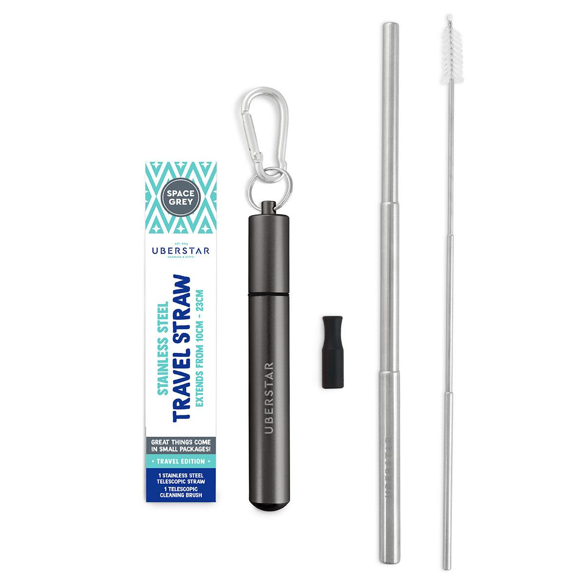 Uberstar Collapsible Travel Stainless Steel Straw - Grey
