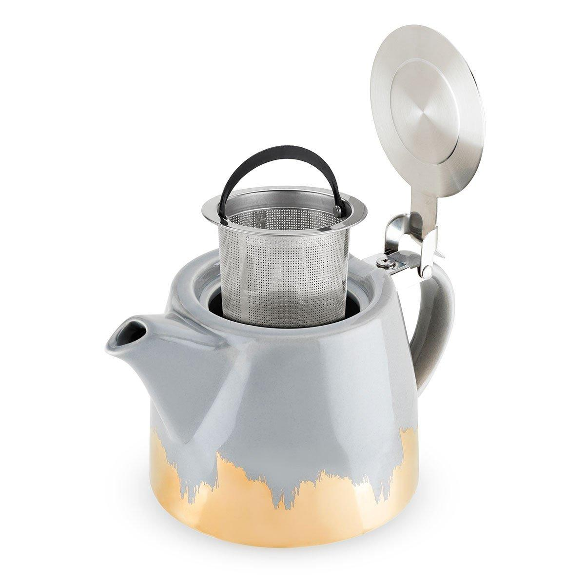 Harper Grey and Gold Brushed Ceramic Teapot and Infuser - Only £26.99