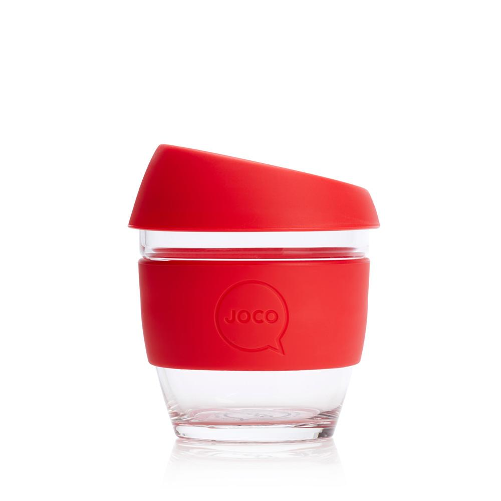 JOCO Cup 8oz Red Glass Coffee Cup