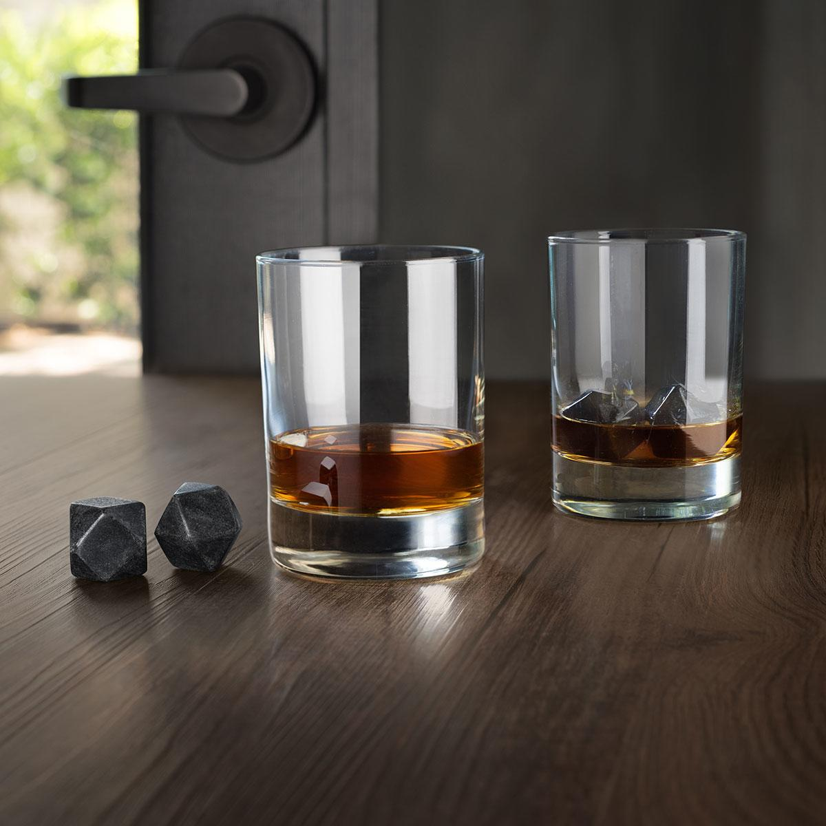 Uberstar Hex Whisky Stones - 4x Basalt Stones & Cotton Bag - £14.99